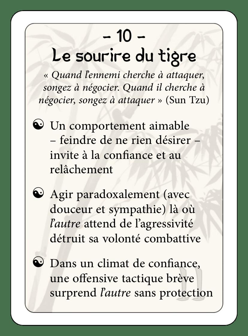Les 36 stratagèmes : 10 - Le sourire du tigre
